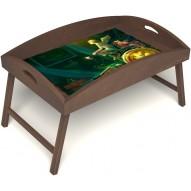 Столик для завтрака в постель «Русская берёза», «Минуты волшебства» с высоким бортиком цвет орех