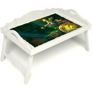 Столик для завтрака в постель «Русская берёза», «Минуты волшебства» с 3-мя фигурными бортиками цвет белый