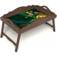 Столик для завтрака в постель «Русская берёза», «Минуты волшебства» с фигурным бортиком цвет орех