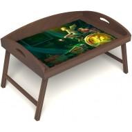 Столик для завтрака в постель «Русская берёза», «Минуты волшебства» с 3-мя высокими бортиками цвет орех
