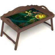 Столик для завтрака в постель «Русская берёза», «Минуты волшебства» с 3-мя фигурными бортиками цвет орех