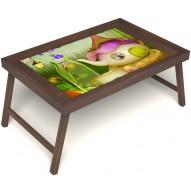 Столик для завтрака в постель «Русская берёза», «Сказочное чаепитие» без ручек цвет орех