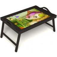 Столик для завтрака в постель «Сказочное чаепитие» с ручками цвет венге