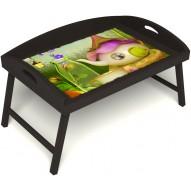 Столик для завтрака в постель «Русская берёза», «Сказочное чаепитие» с 3-мя высокими бортиками цвет венге