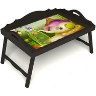 Столик для завтрака в постель «Русская берёза», «Сказочное чаепитие» с 3-мя фигурными бортиками цвет венге