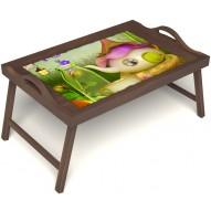 Столик для завтрака в постель «Русская берёза», «Сказочное чаепитие» с ручками цвет орех