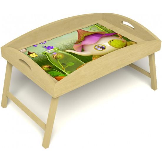 Столик для завтрака в постель «Русская берёза», «Сказочное чаепитие» с высоким бортиком цвет светлый