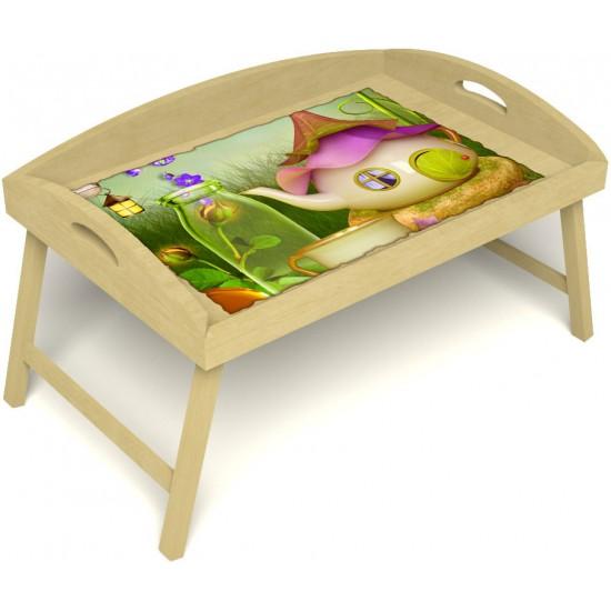 Столик для завтрака в постель «Русская берёза», «Сказочное чаепитие» с 3-мя высокими бортиками цвет светлый