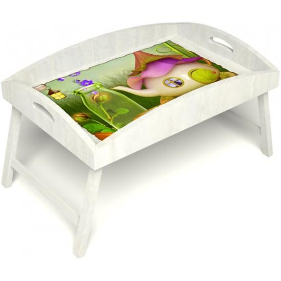 Столик для завтрака в постель «Русская берёза», «Сказочное чаепитие» с высоким бортиком цвет белый