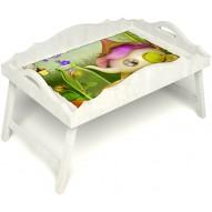 Столик для завтрака в постель «Русская берёза», «Сказочное чаепитие» с фигурным бортиком цвет белый