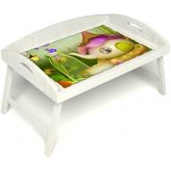 Столик для завтрака в постель «Русская берёза», «Сказочное чаепитие» с 3-мя высокими бортиками цвет белый