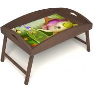 Столик для завтрака в постель «Русская берёза», «Сказочное чаепитие» с высоким бортиком цвет орех