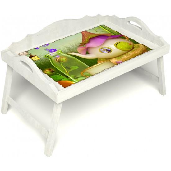 Столик для завтрака в постель «Русская берёза», «Сказочное чаепитие» с 3-мя фигурными бортиками цвет белый