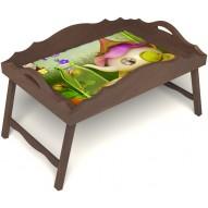 Столик для завтрака в постель «Русская берёза», «Сказочное чаепитие» с фигурным бортиком цвет орех