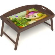 Столик для завтрака в постель «Русская берёза», «Сказочное чаепитие» с 3-мя высокими бортиками цвет орех