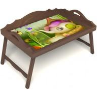 Столик для завтрака в постель «Русская берёза», «Сказочное чаепитие» с 3-мя фигурными бортиками цвет орех
