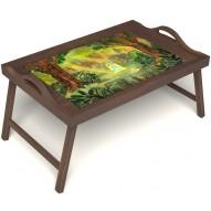 Столик для завтрака в постель «В ожидании принца» с ручками цвет орех