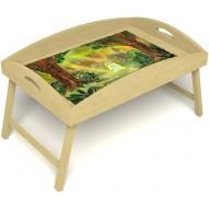 Столик для завтрака в постель «Русская берёза», «В ожидании принца» с высоким бортиком цвет светлый