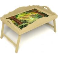 Столик для завтрака в постель «Русская берёза», «В ожидании принца» с фигурным бортиком цвет светлый