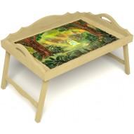 Столик для завтрака в постель «Русская берёза», «В ожидании принца» с 3-мя фигурными бортиками цвет светлый