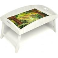 Столик для завтрака в постель «Русская берёза», «В ожидании принца» с высоким бортиком цвет белый