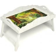 Столик для завтрака в постель «Русская берёза», «В ожидании принца» с фигурным бортиком цвет белый