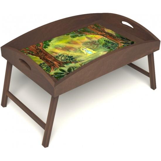 Столик для завтрака в постель «Русская берёза», «В ожидании принца» с высоким бортиком цвет орех