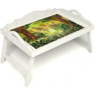 Столик для завтрака в постель «Русская берёза», «В ожидании принца» с 3-мя фигурными бортиками цвет белый