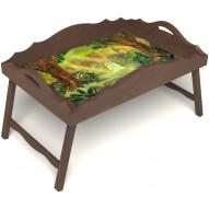Столик для завтрака в постель «Русская берёза», «В ожидании принца» с фигурным бортиком цвет орех