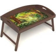 Столик для завтрака в постель «В ожидании принца» с 3-мя высокими бортиками цвет орех