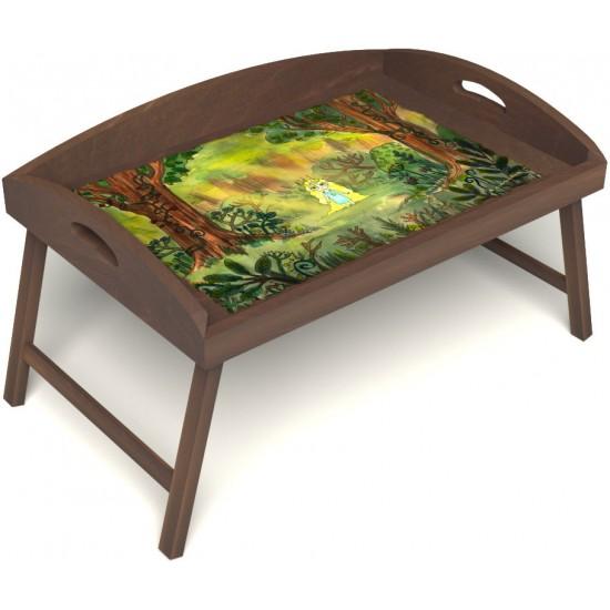 Столик для завтрака в постель «Русская берёза», «В ожидании принца» с 3-мя высокими бортиками цвет орех