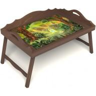 Столик для завтрака в постель «Русская берёза», «В ожидании принца» с 3-мя фигурными бортиками цвет орех