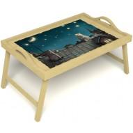 Столик для завтрака в постель «Волшебная ночь» с ручками цвет светлый
