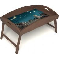 Столик для завтрака в постель «Русская берёза», «Волшебная ночь» с высоким бортиком цвет орех
