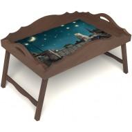 Столик для завтрака в постель «Русская берёза», «Волшебная ночь» с фигурным бортиком цвет орех