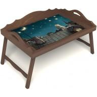 Столик для завтрака в постель «Волшебная ночь» с 3-мя фигурными бортиками цвет орех