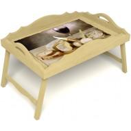 Столик для завтрака в постель «Русская берёза», «Апперетив» с фигурным бортиком цвет светлый