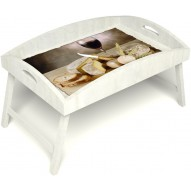 Столик для завтрака в постель «Русская берёза», «Апперетив» с высоким бортиком цвет белый