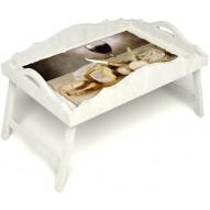 Столик для завтрака в постель «Русская берёза», «Апперетив» с фигурным бортиком цвет белый