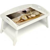 Столик для завтрака в постель «Русская берёза», «Апперетив» с 3-мя высокими бортиками цвет белый