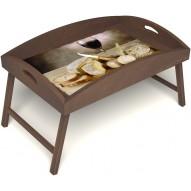 Столик для завтрака в постель «Русская берёза», «Апперетив» с высоким бортиком цвет орех