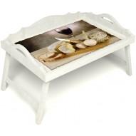 Столик для завтрака в постель «Русская берёза», «Апперетив» с 3-мя фигурными бортиками цвет белый