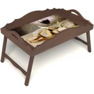 Столик для завтрака в постель «Русская берёза», «Апперетив» с фигурным бортиком цвет орех