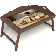 Столик для завтрака в постель «Апперетив» с 3-мя фигурными бортиками цвет орех