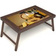Столик для завтрака в постель «Русская берёза», «Бочонок вина» без ручек цвет орех