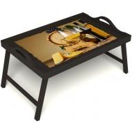 Столик для завтрака в постель «Бочонок вина» с ручками цвет венге