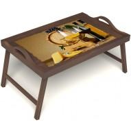 Столик для завтрака в постель «Бочонок вина» с ручками цвет орех