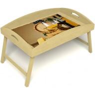 Столик для завтрака в постель «Русская берёза», «Бочонок вина» с высоким бортиком цвет светлый