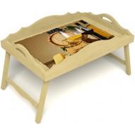 Столик для завтрака в постель «Русская берёза», «Бочонок вина» с фигурным бортиком цвет светлый