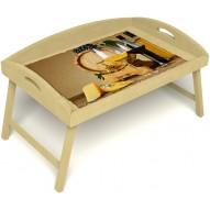 Столик для завтрака в постель «Русская берёза», «Бочонок вина» с 3-мя высокими бортиками цвет светлый